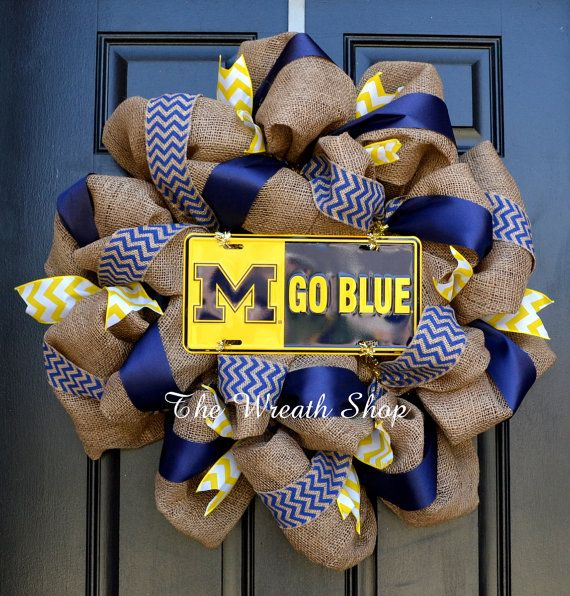 Hey, I found this really awesome Etsy listing at https://www.etsy.com/listing/210202154/university-of-michigan-burlap-wreath