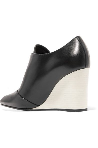 Lanvin - Leather Wedge Ankle Boots - Black - IT