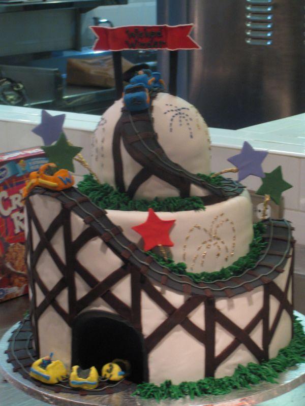 park/roller coaster cake -