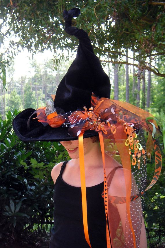 Halloween Witch Hat Orange and Black by EchoClothingCompany