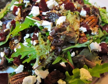 Baby Greens with beets, goat cheese, candied pecans & honey balsamic ...