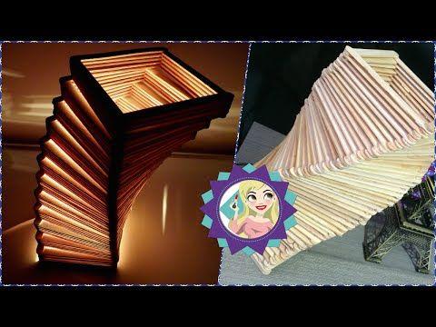 Manualidades fáciles LAMPARAS CON PALITOS DE HELADO - YouTube