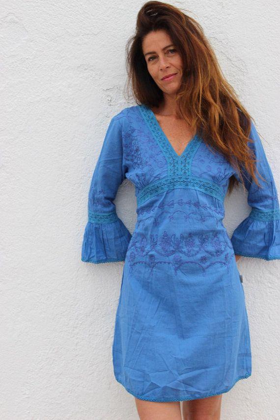176d0615a390c7 La isla blanca   ocean Blue Boho jurk van Ibiza