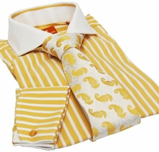 Steven Land Dress Shirt . Gold and White Stripes . 100% Cotton . French Cuffs . Contrast Collar