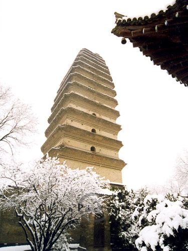 Xi'an. Small Wild Goose Pagoda,situated in Jianfu Temple,is a historical legacy left by the Tang Dynasty (618AD-907AD).