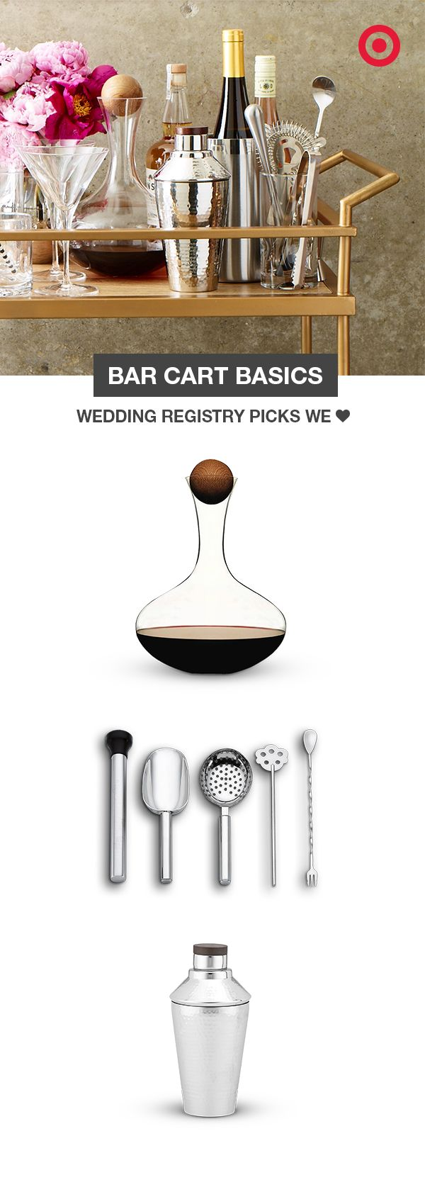 Include on your wedding registry everything you need to stock a well-equipped bar cart. Start with a wine decanter, bar tools, a cocktail shaker, and even the bar cart itself. Then just add your favorite spirits and mixers, and you'll be more than ready when the party's at your place.