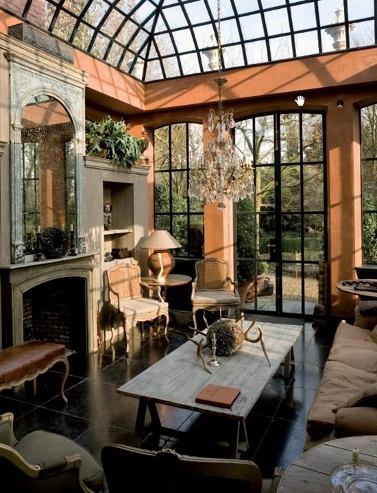 Love this domed and paneled glass ceiling idea for a conservatory/solarium