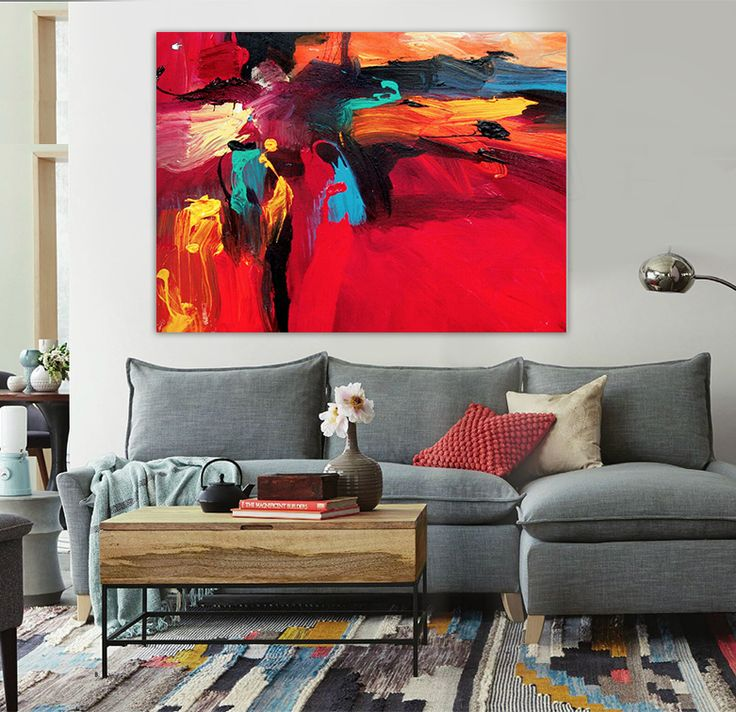 Hand painted modern abstract oil painting big red