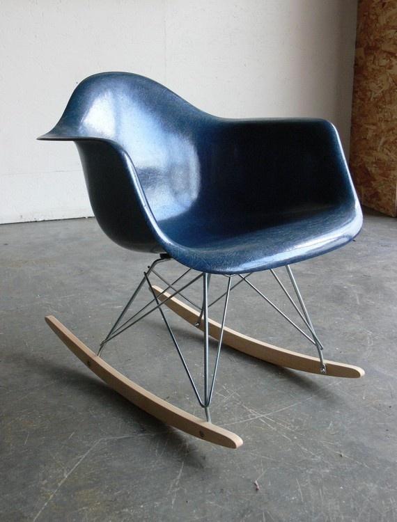 Exceptional Herman Miller Eames Fiberglass Shell Rocker Chair.