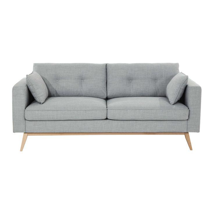 Canapé 3 places en tissu gris clair Brooke 399€ A VERIFIER : PAS CONFONDU PAR LE SITE AVEC DUKE