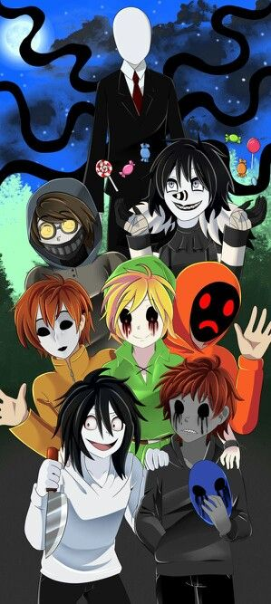 Okay, BEST PIN EVER!! From top to bottom, it's Slenderman, Ticci Toby, Laughing Jack (L.J.), Masky, BEN Drowned, Hoodie, Jeff the Killer, and finally E.J. (Eyeless Jack)