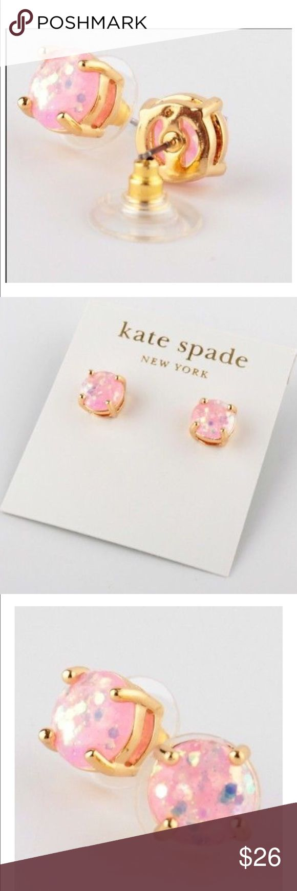 """Kate Spade New York Mini GlitterEarrings Pale Pink Kate Spade  Mini Glitter Stud Earrings Pale Pink * 12k gold-plated metal/glitter-injected epoxy * 0.5""""L * Post backs  Beautiful! shiny 12-karat gold plated metal with glass stones. Earrings measure 5/16"""" wide. These earrings are brand new and have never been worn. Earrings come on earring card. Earring card does have the price tag on the back Kate Spade Jewelry Earrings"""