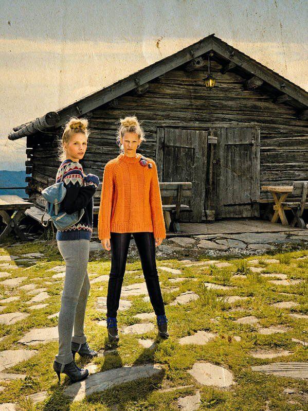 Echo der Berge!Links: Norwegerpulli von Pepe Jeans, um 70 Euro, graue Steghose…