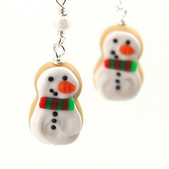 Snowman cookie earrings by inediblejewelry on Etsy, $26.00