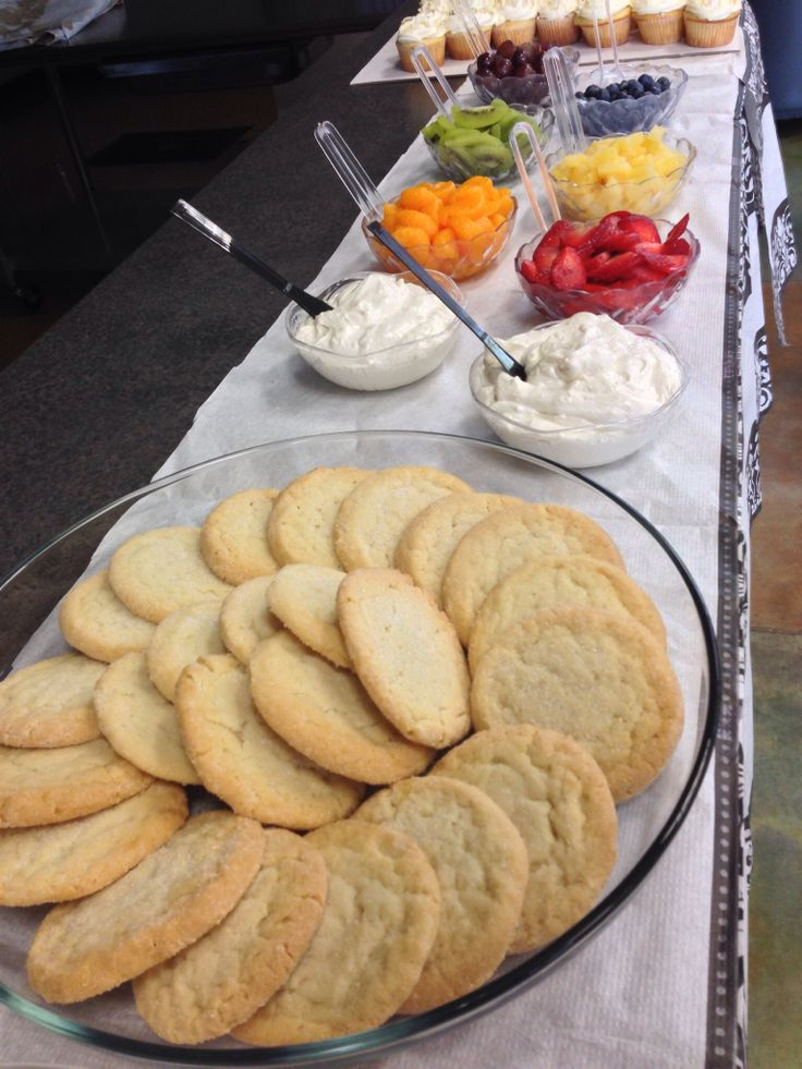Build your own mini fruit pizza bar. Food for bridal shower