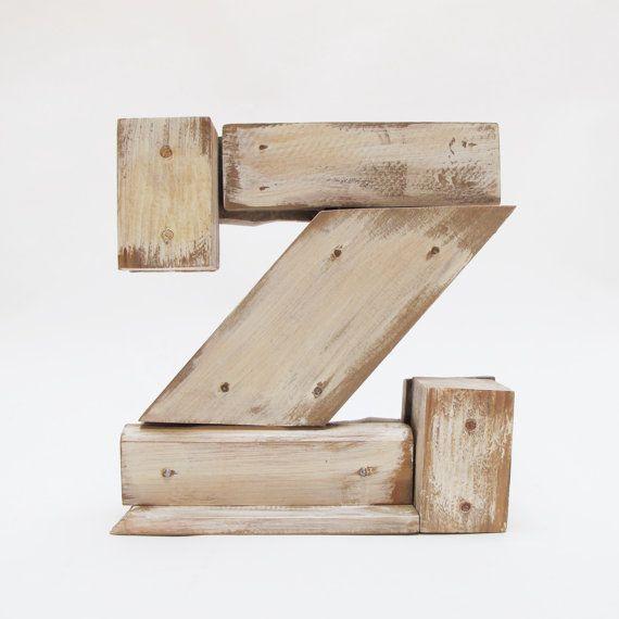 """Houten letters """"Z"""". Industriële brieven. Muur opknoping initals brief, opknoping hout Letters, kwekerij de Letters,"""