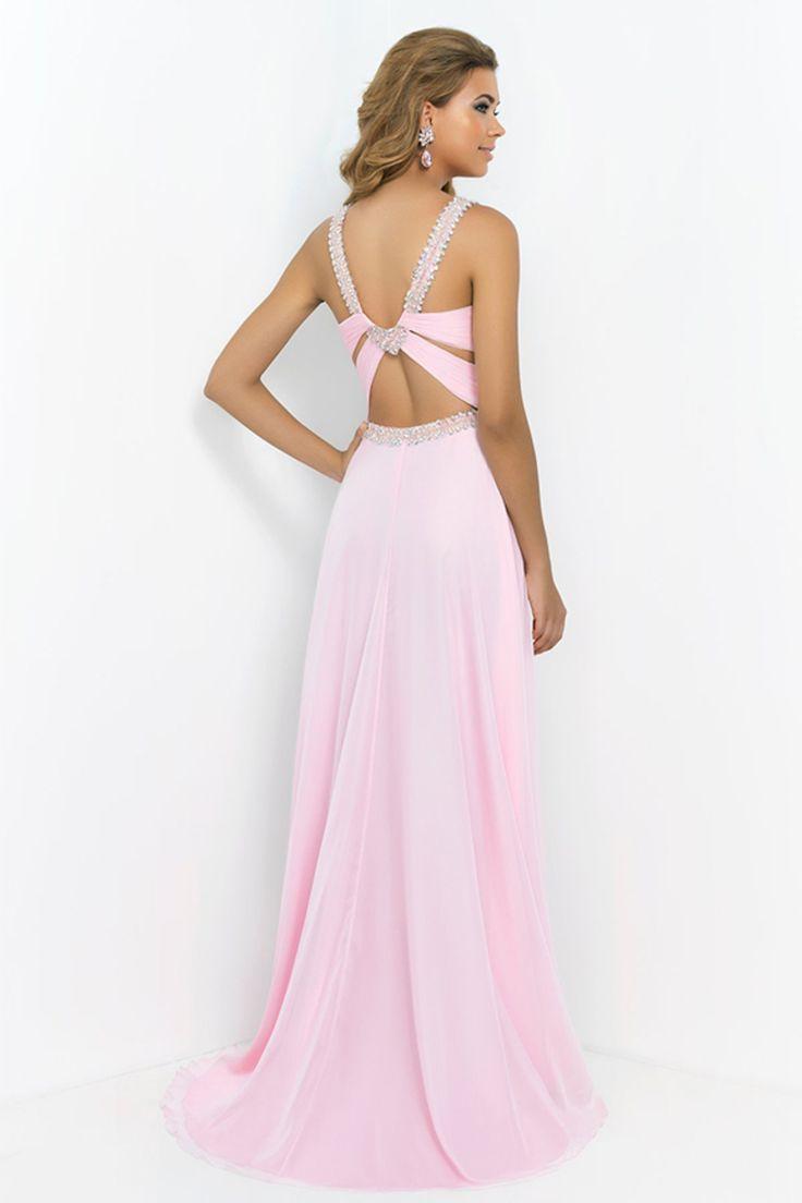 Open Back Halter Prom Dress A Line Sweep Train Chiffon | Prom ...