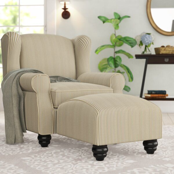 Enjoy Wingback Luxury With Everyday Armchair Comfort This Transitional Wingback And Ottoman Set Creates T In 2020 Chair And Ottoman Chair And Ottoman Set Barrel Chair