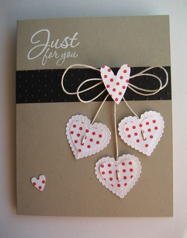 Darling Brown Kraft Hearts Card...pin of a pin.