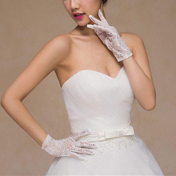 Bride Short Section Full Lace Fingers Gloves Wedding Dress Jacquard Gloves