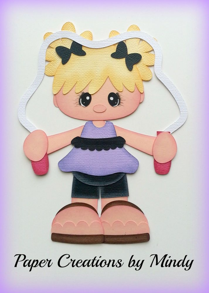 Girl Jump Roping  premade paper piecing for scrapbooks pages albums borders