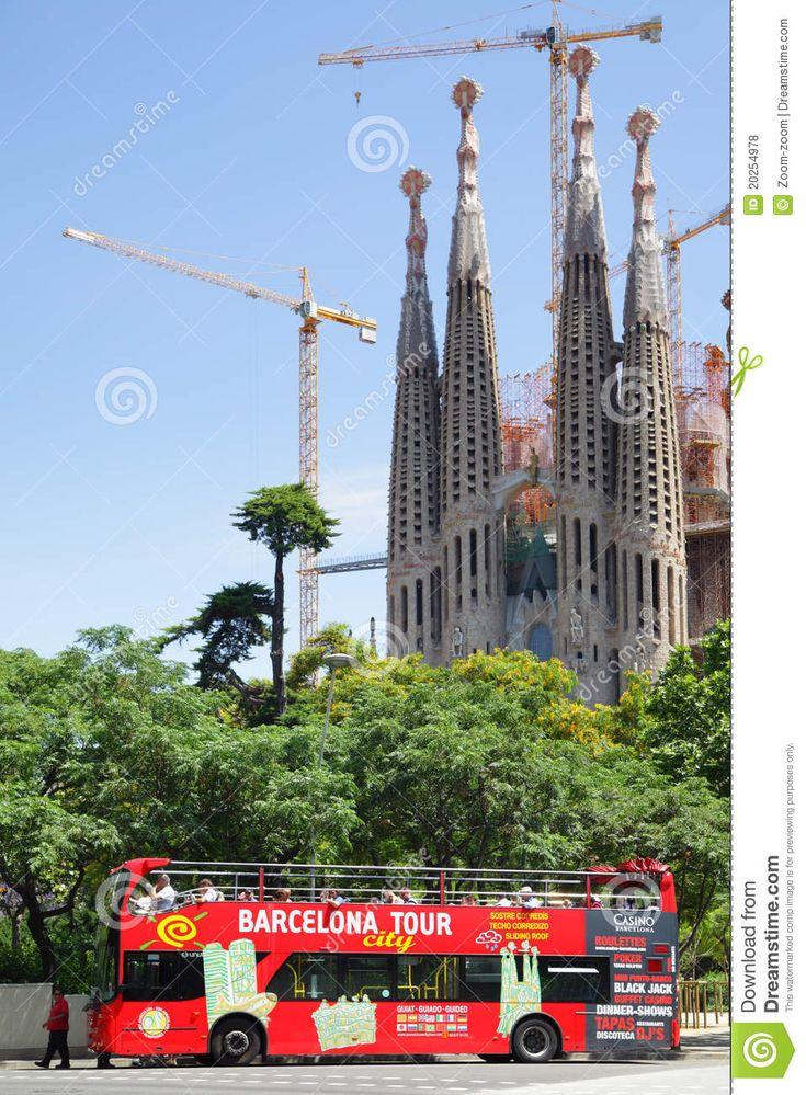 Barcelona Attractions | BARCELONA, SPAIN - JUNE 9: Tourist bus near The La Sagrada Familia ...