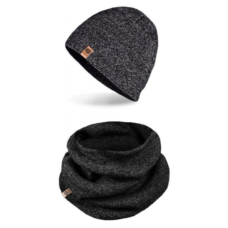 Pánská čepice a nákrčník, tmavě šedá