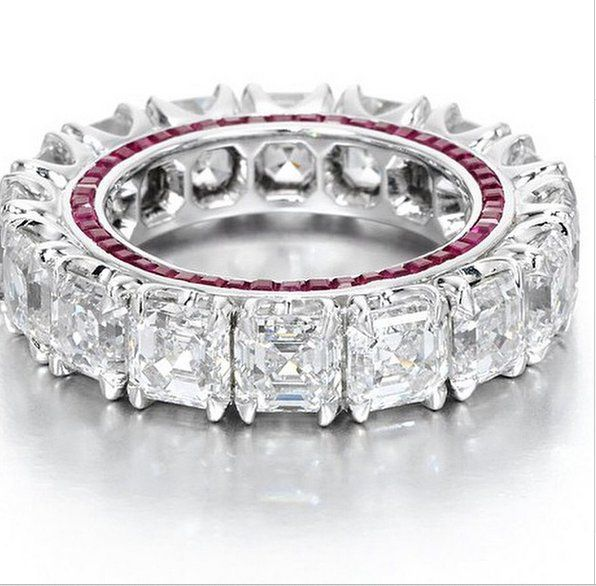 asher cut diamond eternity band with ruby