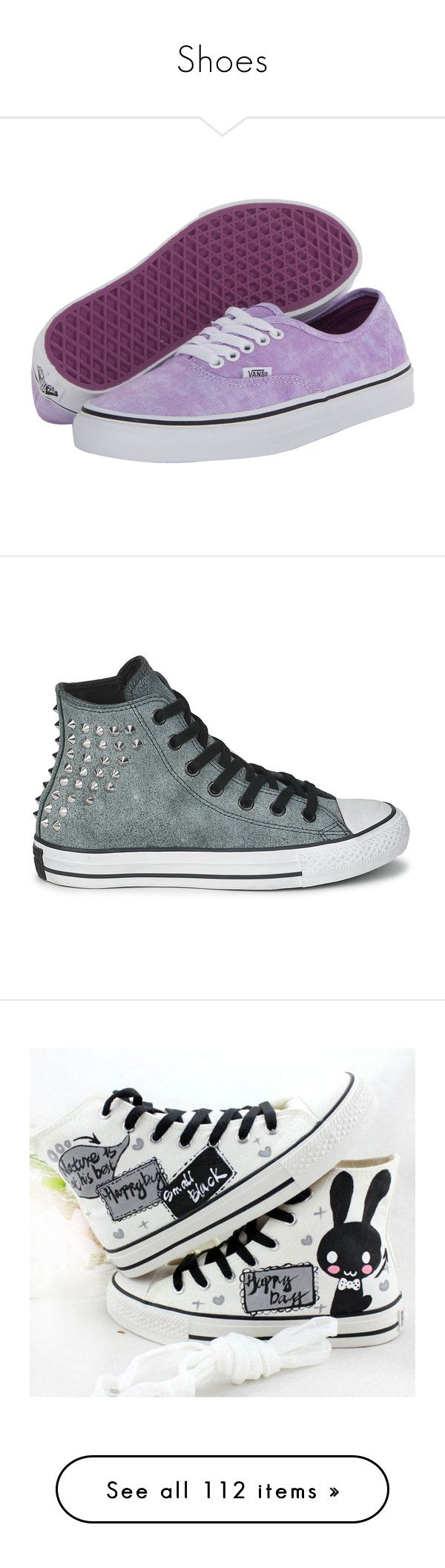 """""""Shoes"""" by freedom-to-be-me ❤ liked on Polyvore featuring shoes, sneakers, vans, purple, skate shoes, purple skate shoes, vans sneakers, purple shoes, leather skate shoes and converse"""