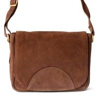 Hamosons – Kleine Damen Handtasche / Umhängetasche aus Büffel-Leder, Braun, Modell 575