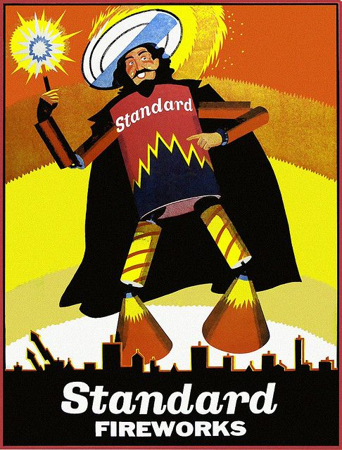 Standard Fireworks poster - Guy Fawkes; Light up the sky with Standard Fireworks. Nostalgia!
