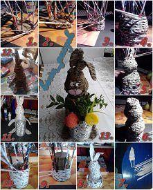 Zobacz zdjęcie Własnoręcznie robiony Wielkanocny zając z papierowej wikliny. Myślę, że jak n...