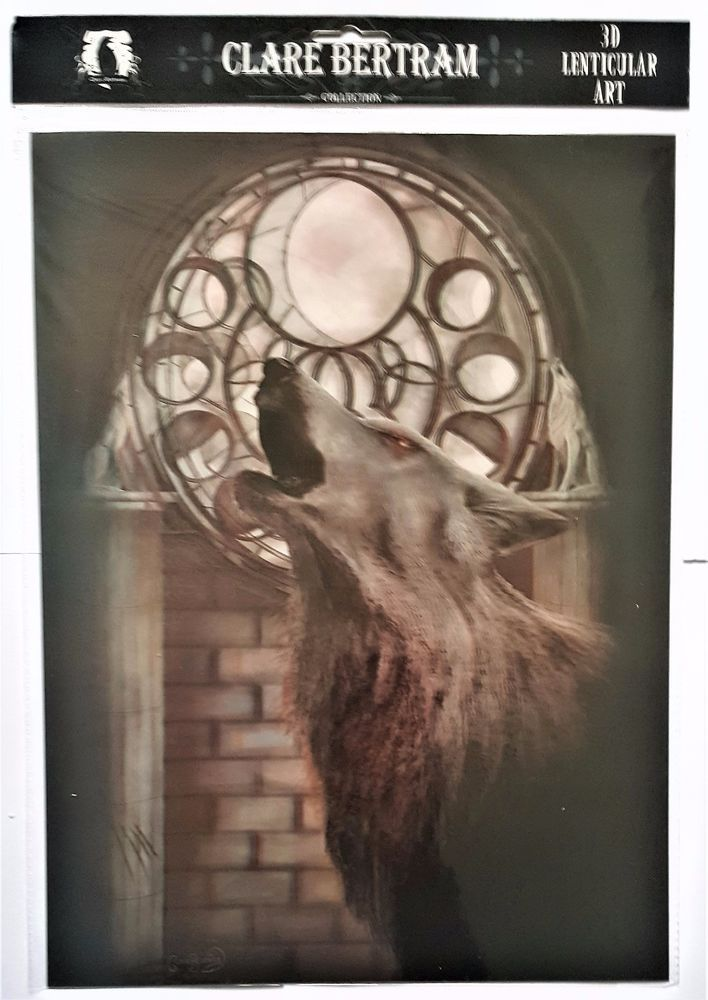 Brand New Licensed 3D Lenticular Art Clare Bertram CYCLE OF THE WOLF Print