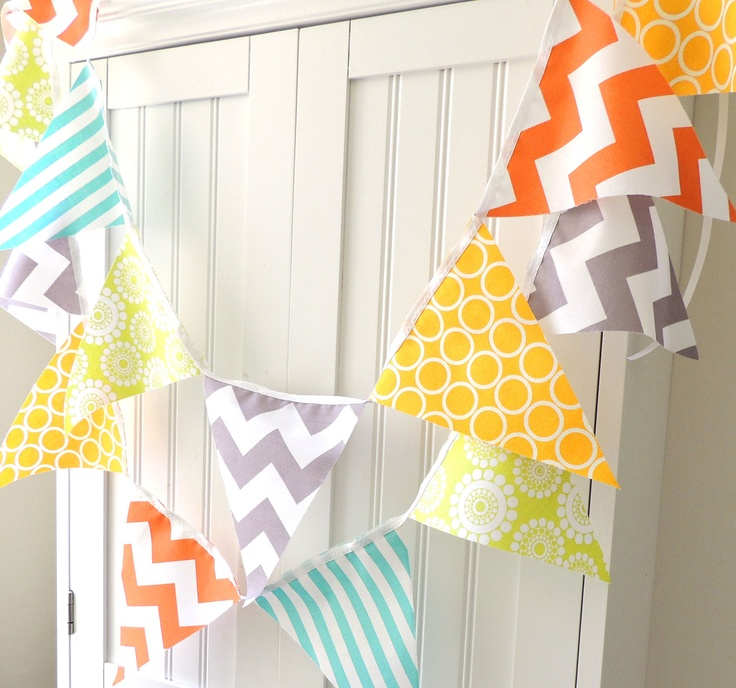 Banner bunting pennant fabric flags orange grey for Yellow nursery fabric