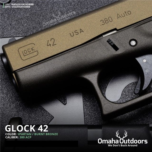 Glock 42 G42 Spartan Burnt Bronze 380 .380 ACP : Semi Auto Pistols at GunBroker.com
