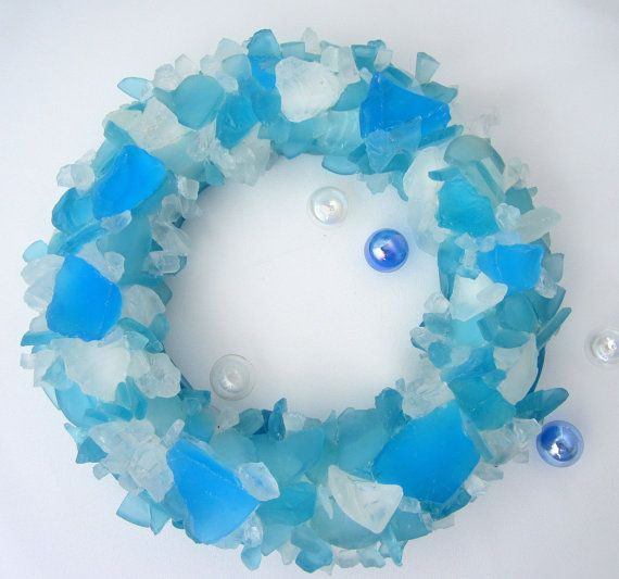 Beach Decor Sea Glass Wreath - Nautical Beach Glass Wreath in Aqua Mix or Any Color