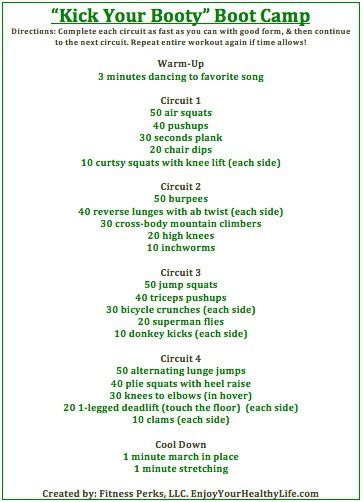 kick your booty boot camp workout not sure if i can do this one just yet but I will never say i won't try!