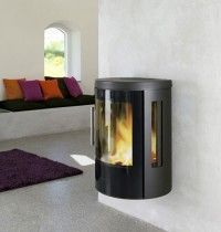 Hwam 3610 contemporary wall hung woodburning stove. Also come with various option as a freestanding stove.