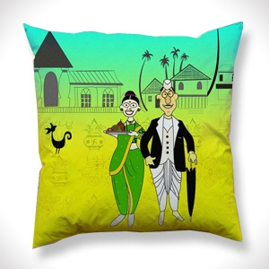 Ethni-cities of India Maharashtrian Couple Cushion Cover