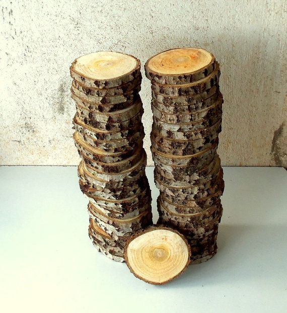 Wood Slices  Coasters  50 Blank White Tree Branch slices