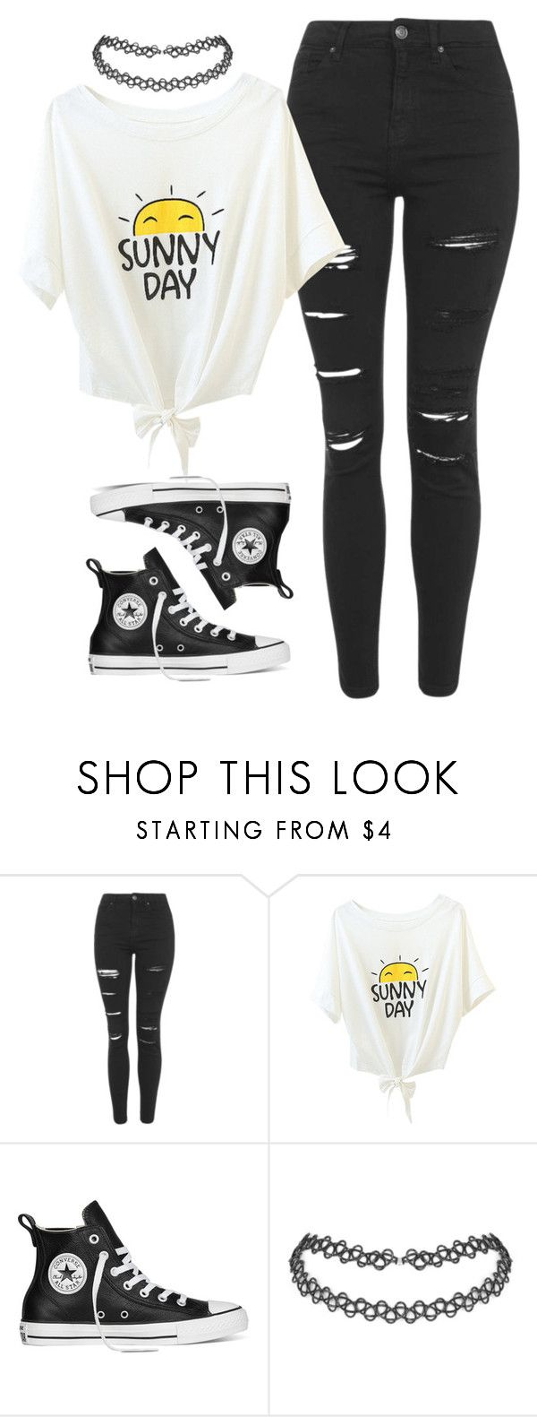 """Untitled #121"" by frizzypop ❤ liked on Polyvore featuring moda, Topshop y Converse"
