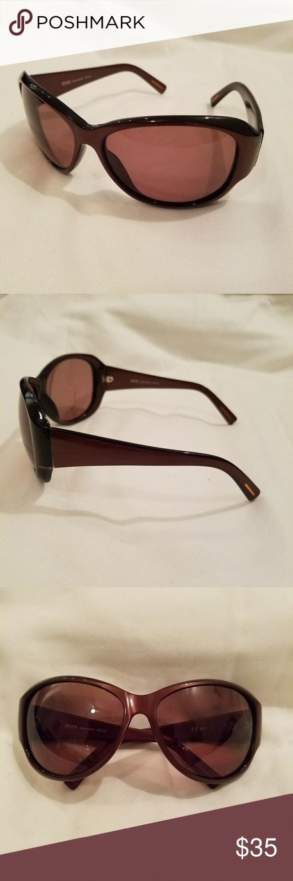 Hugo Boss womens sunglasses Like new, never worn. Rich wine-brown colour. Very glamorous!! Hugo Boss Accessories Sunglasses