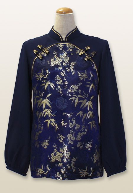 切り替え長袖チャイナ服 ネイビー×ネイビー - チャイナ風ブラウスAROで通販