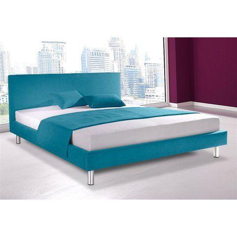 Cadre de lit 2 personnes en micro velours Maintal - Turquoise- Vue 2