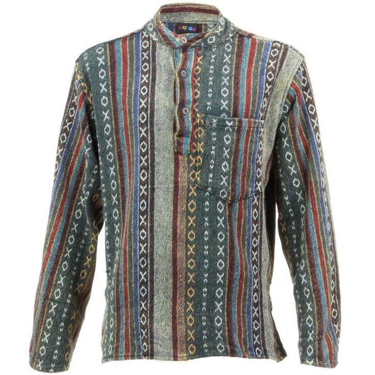 Gringo Long Sleeve Striped Nepalese Kurta Grandad Shirt - Blue & Green - Shirts - Clothing