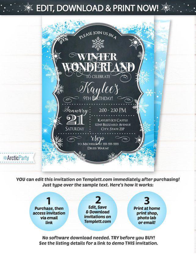 Winter Wonderland Party Invitations Winter Wonderland Birthday