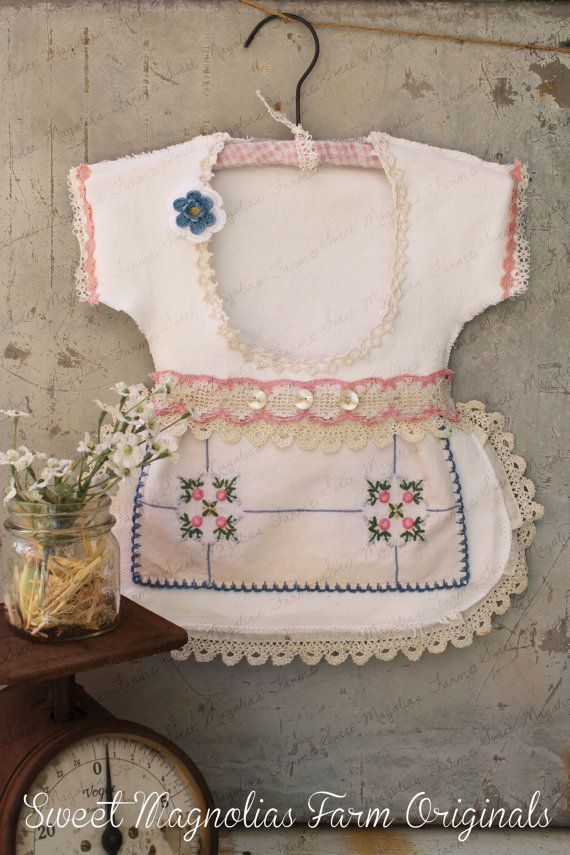 "Clothespin Bag Vintage Style Dress Made with Vintage Doilies and Crochet Lace Trims Pink and Blue "" a One of a Kind"" by SweetMagnoliasFarm, $38.50"