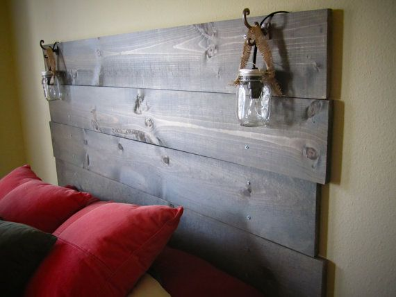 Stained Wood Headboard With Builtin Mason Jar Lights