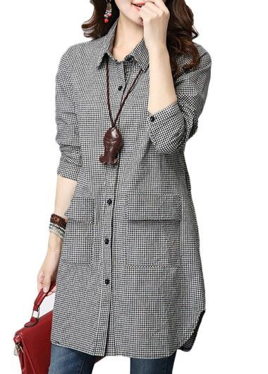 Plaid Print Turndown Collar Long Shirt | lulugal.com - USD $25.90