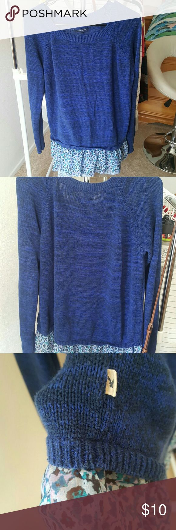 American Eagle Outfitters Top Long sleeve knitten/woven shirt. Blue & black with ruffle detailing on bottom. Looks very cute with leggings & some combat boots! Very comfortable soft & warm. Has been gently worn & is in great condition! American Eagle Outfitters Tops Tunics